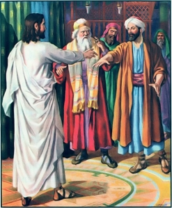 Jesus heals a man's withered hand on the Sabbath Matthew 12:9-13